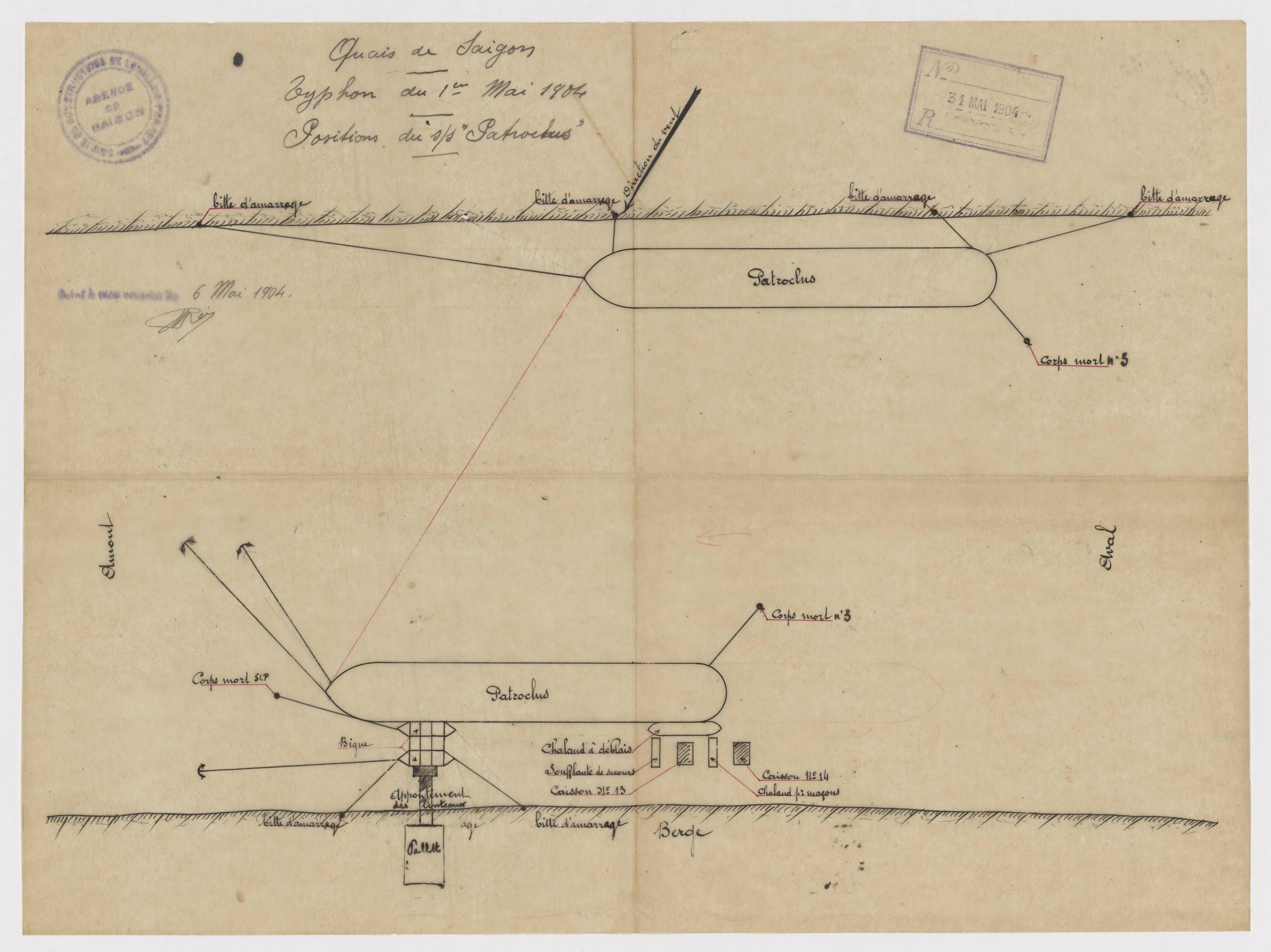 Rapport sur le cyclone du 1er mai 1904, positions du Patroclus, bateau à vapeur.