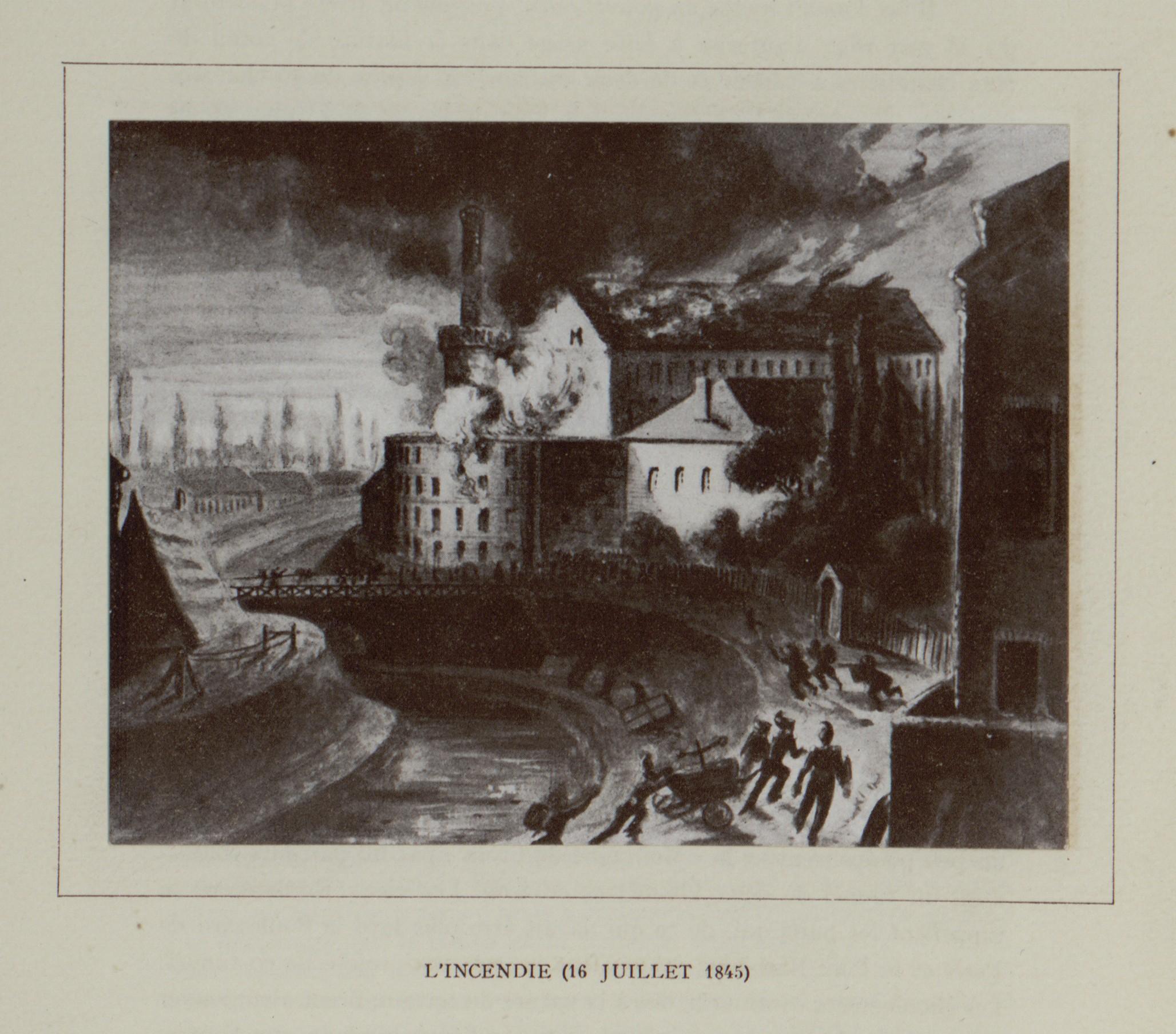 Gravure de l'incendie de 1845.