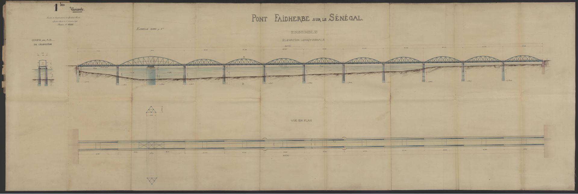 Plan à l'aquarelle et au levis du projet de construction du pont Faidherbe sur le Sénégal, 1893.