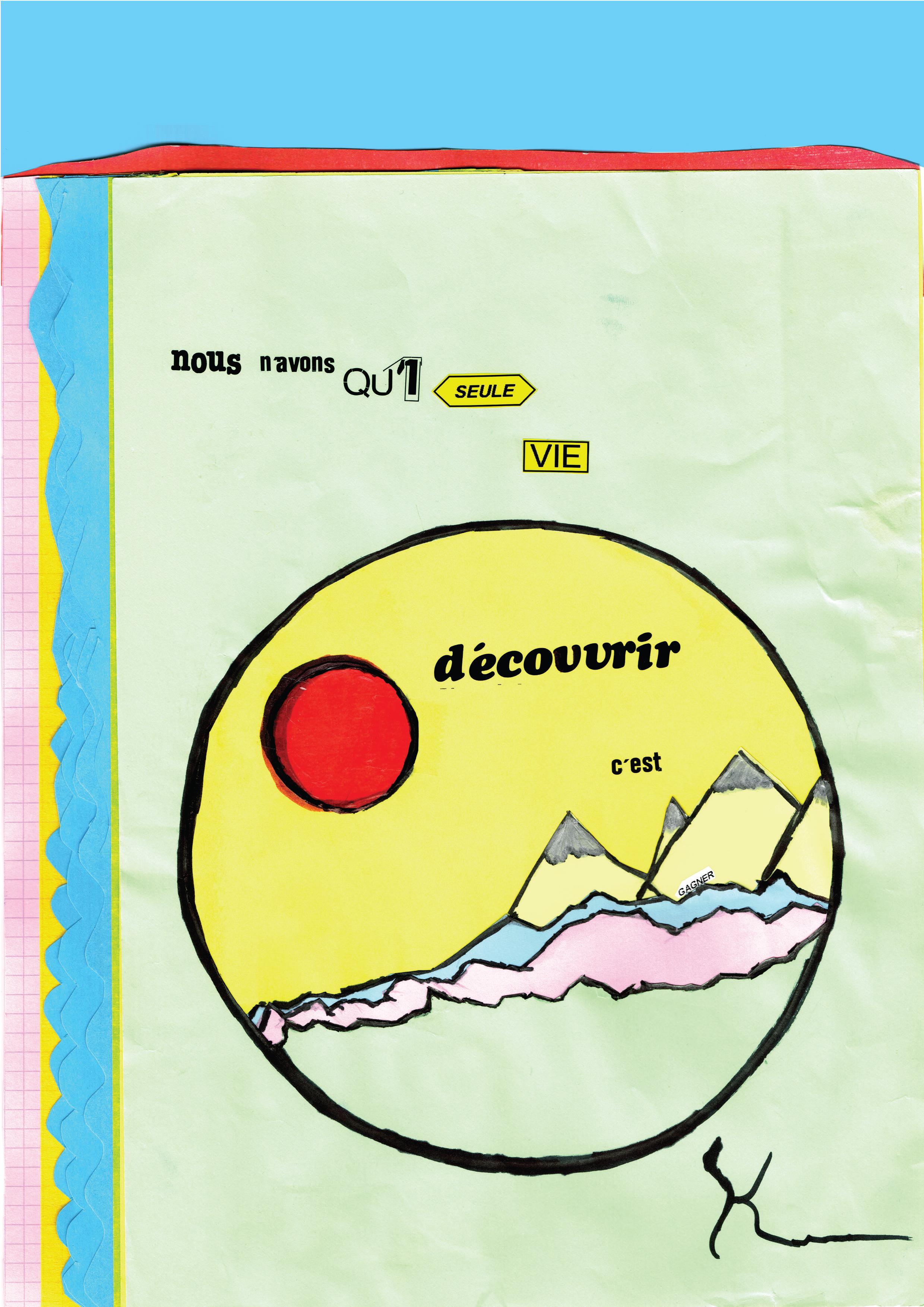 Affiche réalisée par Kamelia BOUSSADIA (collège Jean-Baspiste Lebas, Roubaix) dans le cadre de l'atelier de l'artiste Joséphine Kaeppelin, janvier 2020.