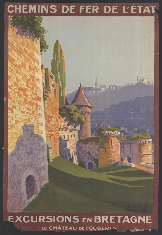 Affiche dessinée représentant le château de Fougères.