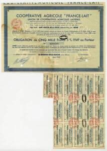 Obligations boursières provenant de l'union de coopératives agricoles laitières « France-lait » (Union de coopérative), 1949.