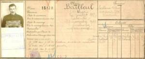 Détail du dossier individuel du mineur de fond Arthur Bailleul (né en 1887 à Laventie).