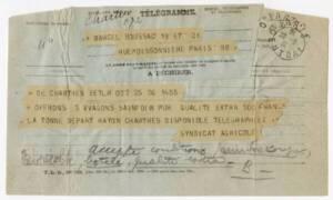 Proposition de prix pour l'achat de trois wagons de sainfoin : télégramme de la Société coopérative agricole d'achat en commun d'approvisionnement et de vente du Syndicat agricole départemental d'Eure-et-Loir,  adressé au propriétaire de haras Marcel Boussac, 1931.