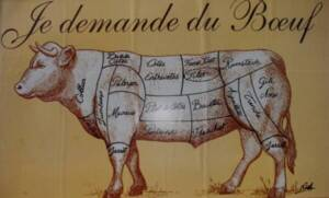 Publicité pour de la viande de bœuf : photographie, sans lieu ni date.