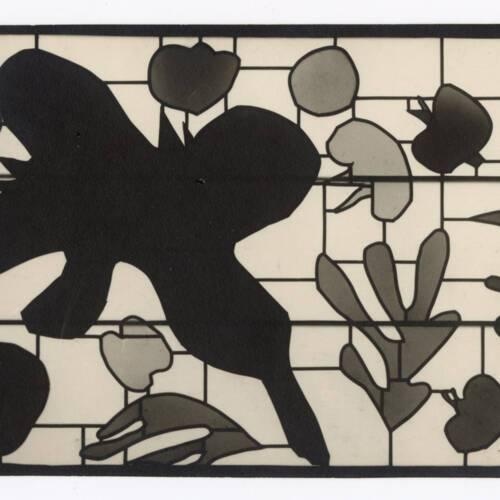 """Vitrail """"les coquelicots"""" réalisé par Paul Bony à partir d'une maquette de Matisse : photographie, négatif souple, vers 1969."""