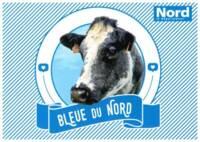Carte postale du Salon de l'Agriculture représentant une Bleue du Nord, sans date.