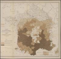 Carte des arrondissements dans lesquels la présence du phylloxera a été constatée, 1883.