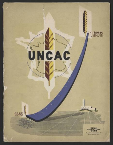 Couverture du supplément au n°47 de la revue UNION Agriculture, consacré à l'Union nationale des coopératives agricoles de céréales, 1955.