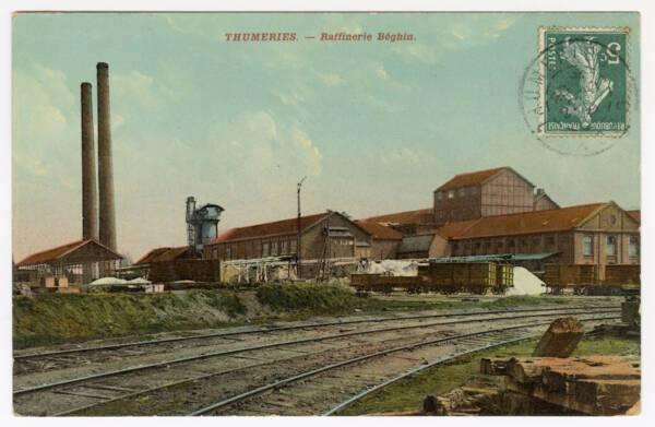 Raffinerie de sucre de l'entreprise Béghin : carte postale colorisée, [première moitié du XXe siècle].
