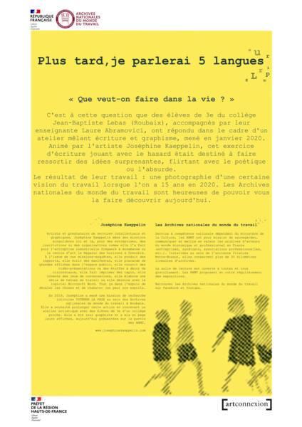 """Affiche de présentation de l'exposition """"Plus tard, je parlerai 5 langues""""."""
