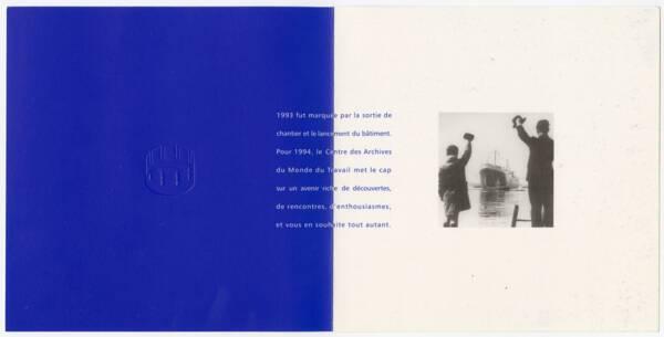 carte de vœux blanche et bleu